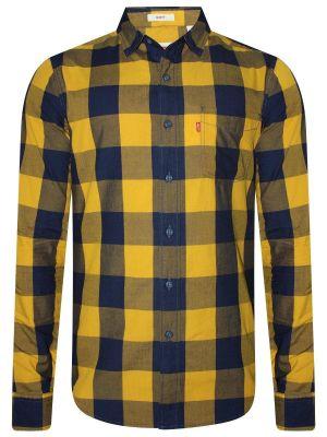 Levis Mustard & Navy Blue Casual Checks Shirt For Men (59624-0007)
