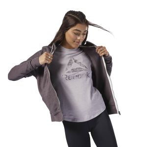 Reebok Grey Training Essentials Marble Logo Full Zip Jacket For Women - (D95534)