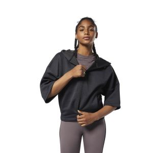 Reebok Black Thermowarm Deltapeak Short Sleeved Sweatshirt For Women - (CY2608)