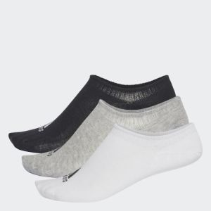 Adidas Pack of 3 Grey Heather/White/Black Performance Invisible Socks - CV7410