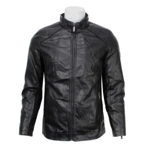 Black Single Zipper Faux Leather Jacket