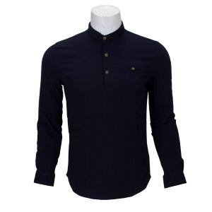 Navy Blue 3 Buttoned T-Shirt For Men