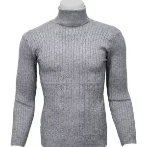 Grey high neck sweater for men
