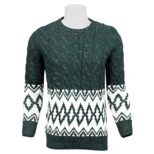 Green/White Textured Woven Sweater For Men