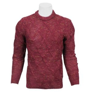 Maroon Textured Woven Sweater For Men