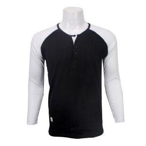 Full Sleeve Henley Baseball Tshirt - Black/White