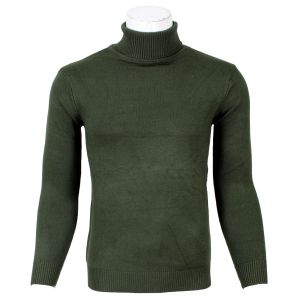 Dark Green Turtle Neck Sweater For Men