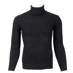 Black Solid Turtle Neck Sweater For Men