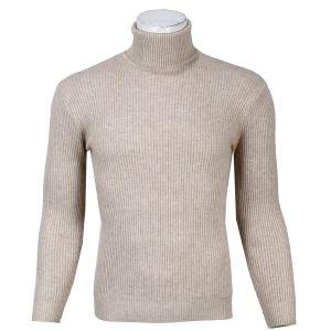 Cream Turtle Neck Sweater For Men