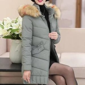 SLIM HOODED COLLAR FUR DOWN JACKET-LIGHT GREEN