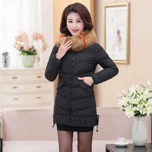 SLIM HOODED COLLAR FUR DOWN JACKET-BLACK