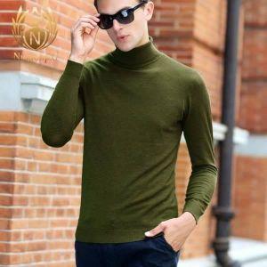 MEN SLIM HIGH COLLAR HIGH NECK SWEATER -GREEN