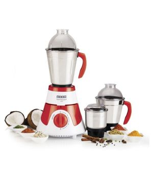 USHA MG-3576 3 Jar Mixture Grinder 750W - (White/Red)