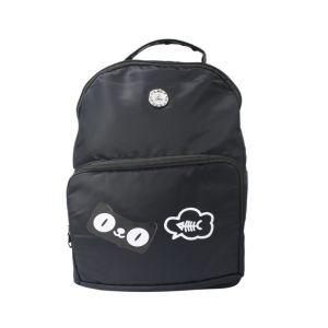 Dark Blue Fish Bone Printed Zippered Backpack For Women