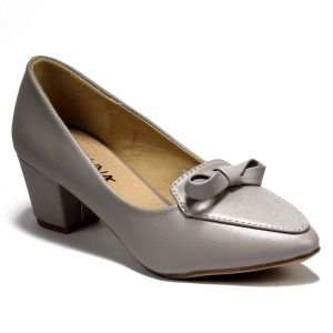 Grey Front Bow Block Pumps For Women