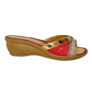 Red Heeled Slides With Golden/Silver Dimaonds For Women