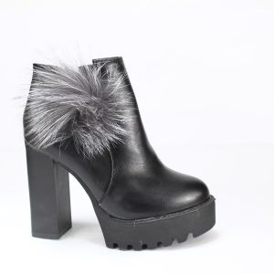 Black Solid Studded Block Heel Boots For Women