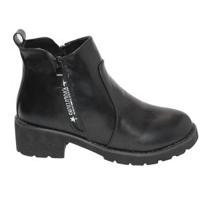 Black Zippered Ankle Boots For Women