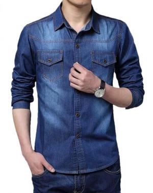 Navy Blue Solid Casual Denim Shirt For Men