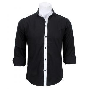 Slim Fit Casual Shirt- Black