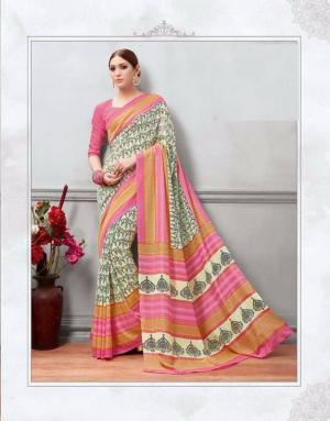 Cream/Pink Printed Sareee With Blouse Piece For Women