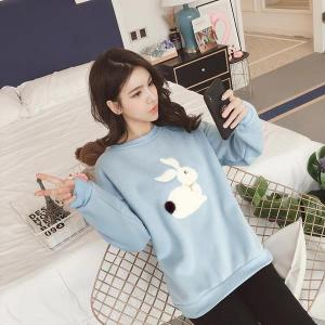 New long sleeved Cute Single Rabbit Printed Sweatshirt Pullover- Blue