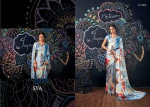Turquoise & Silver Designer Satin & Silk Saree With Blouse For Women