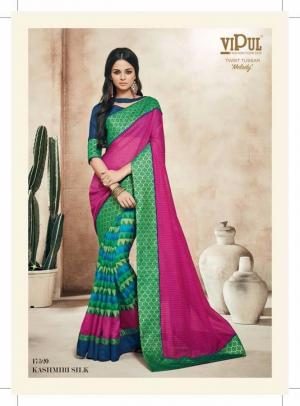 Green/Pink Embroidered Designer Georgette Saree With Blouse For Women