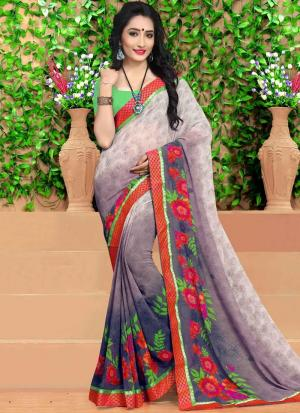 Digital Printed Multi Colour Georgette Casual Saree free With Blouse Piece 9141