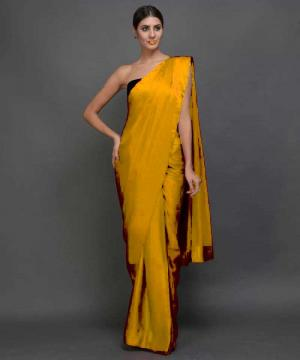 Plain Satin Silk Saree With Velvet Blouse Piece Yellow Colour