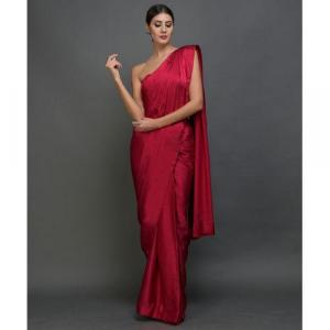 Plain Satin Silk Saree With Velvet Blouse Piece Maroon Colour