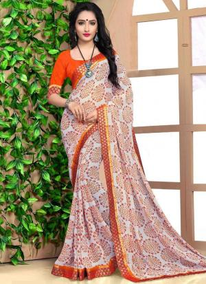 Digital Printed Multi Colour Georgette Casual Saree With Blouse Piece DN9132