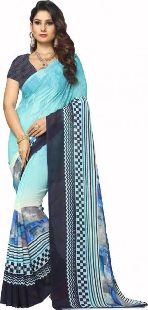 Digital Printed Georgette Saree With Blouse Piece