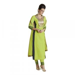 Green/Golden Bordered Semi Stitched Kurti For Women