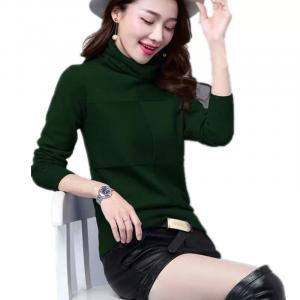 Women Pile Heap Collar Turtleneck Pullover -Green
