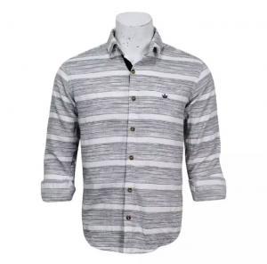 Grey/White Striped Cotton Full Sleeve Shirt For Men