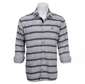 Cotton Full Sleeve Black/Grey Striped Shirt For Men