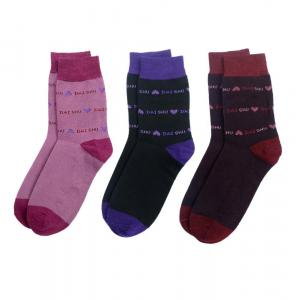 Pack Of 3 Daishu Printed Cotton Socks For Ladies
