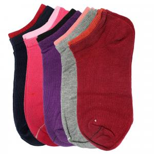 Pack Of 5 Ankle Socks For Women- Blue/Pink/Purple/Grey/Maroon
