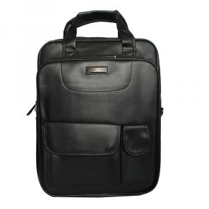 3 in 1 Black Synthetic Leather Laptop Bag