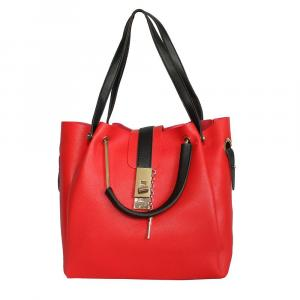 Front Lock Synthetic Leather Handbag For Women