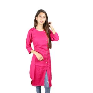 Pink Slub Rayon Front Side Buttoned High Low Kurti For Women