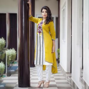 Yellow Off-White Kurti For Women