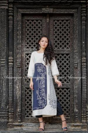 Navy Blue Printed Long Kurti
