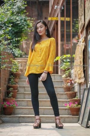 Yellow Short Tops For Women