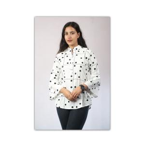 White Polka Dots Printed Mandarin Tunic