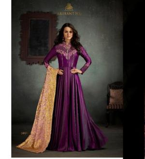 Party Wear Floor Touch Gown (One Pc set ) Dark Magenta Color
