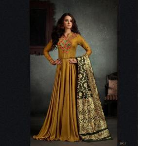 Designer Party Wear Floor Touch Gown (One Pc set ) Dark Golden Color for women