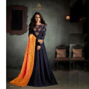 Party Wear Floor Touch Gown (One Pc set ) Navy Color for women
