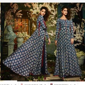 Heavy Rayon Navy Blue/Gray Color Party Wear Gown for Women- Daboo Ajrakh Printed